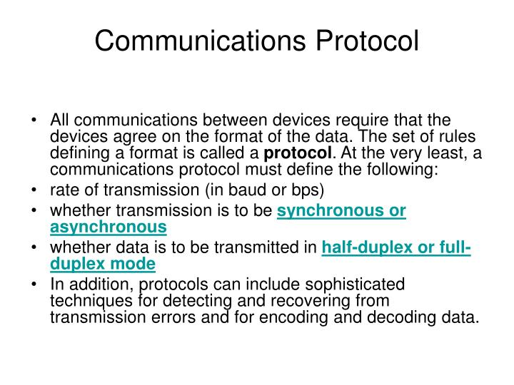 communications protocol n.