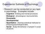 experimental subfields of psychology