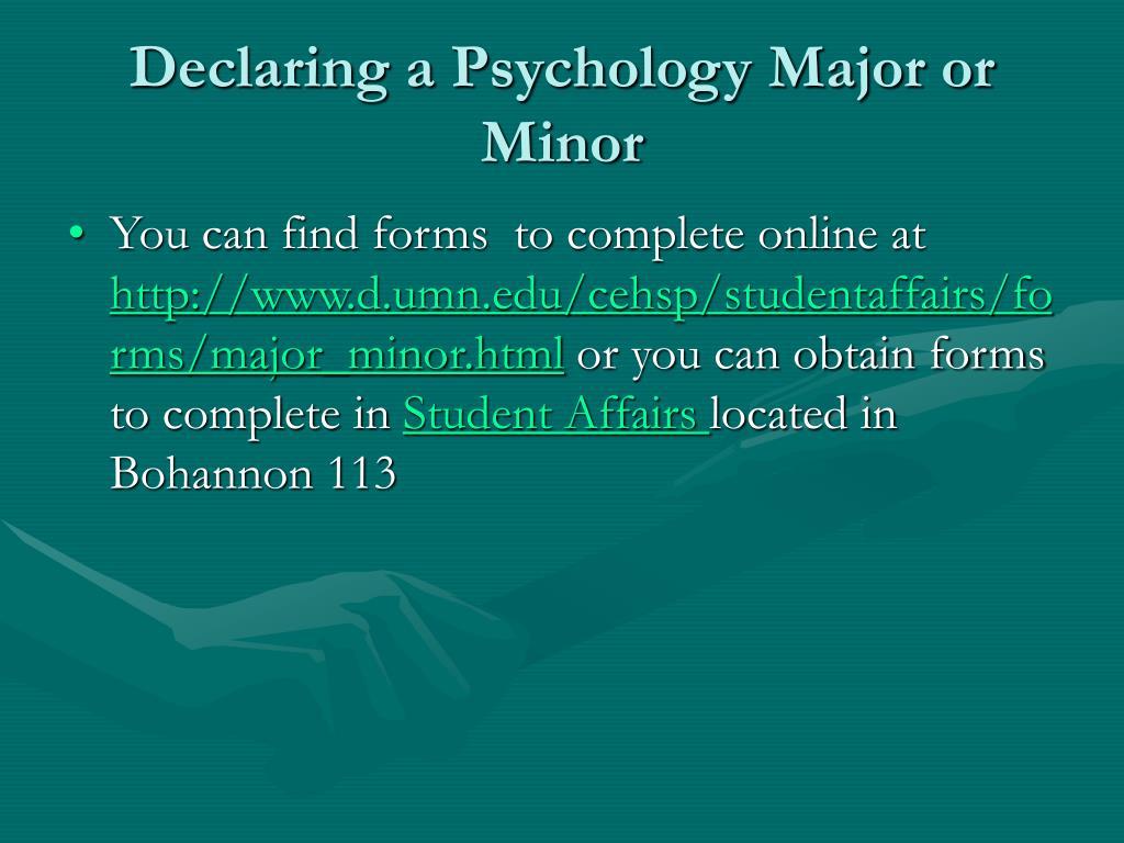Declaring a Psychology Major or Minor