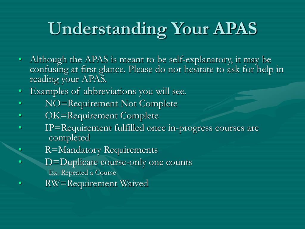 Understanding Your APAS