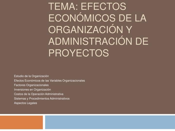 tema efectos econ micos de la organizaci n y administraci n de proyectos n.