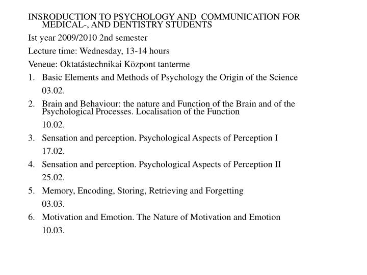 INSRODUCTION TO PSYCHOLOGY