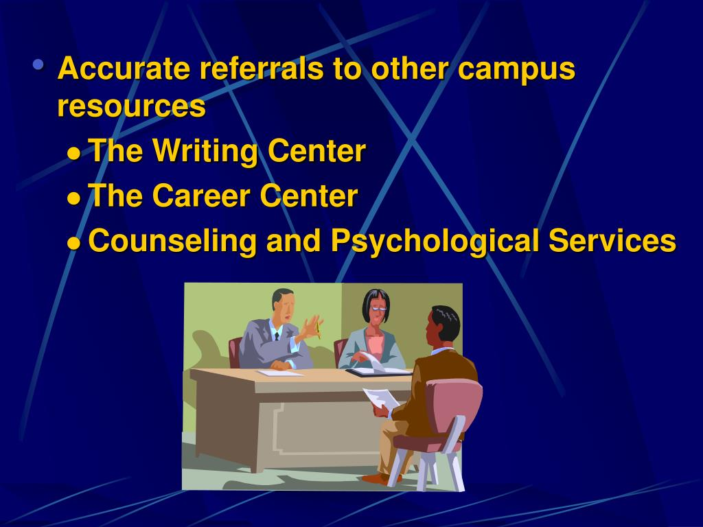 Accurate referrals to other campus resources