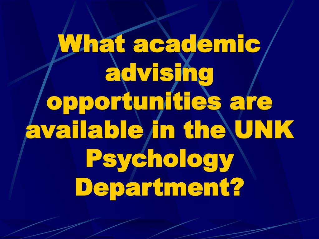 What academic advising opportunities are available in the UNK Psychology Department?