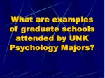 what are examples of graduate schools attended by unk psychology majors