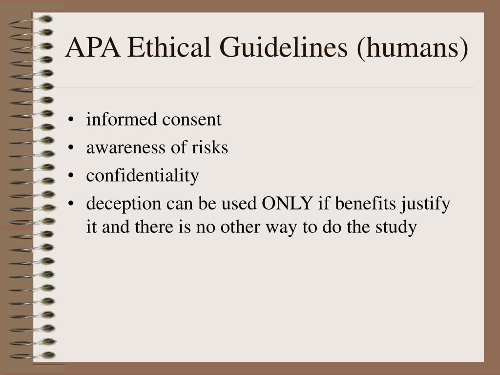 APA Ethical Guidelines (humans)