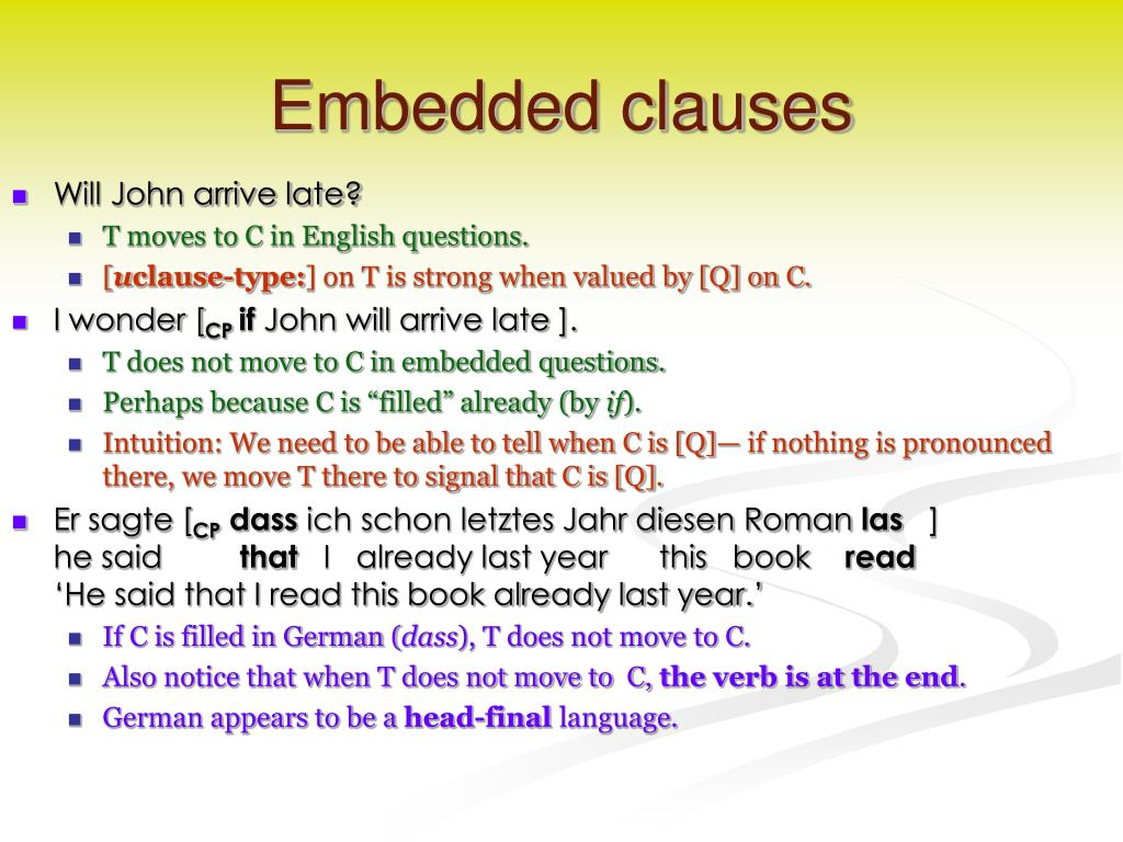Embedded clauses
