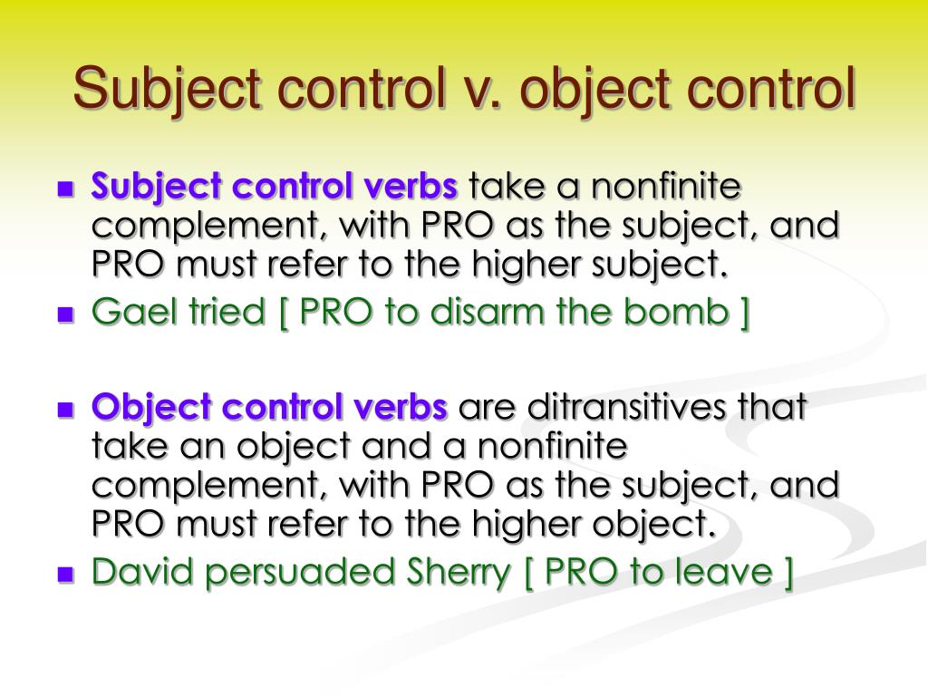 Subject control v. object control