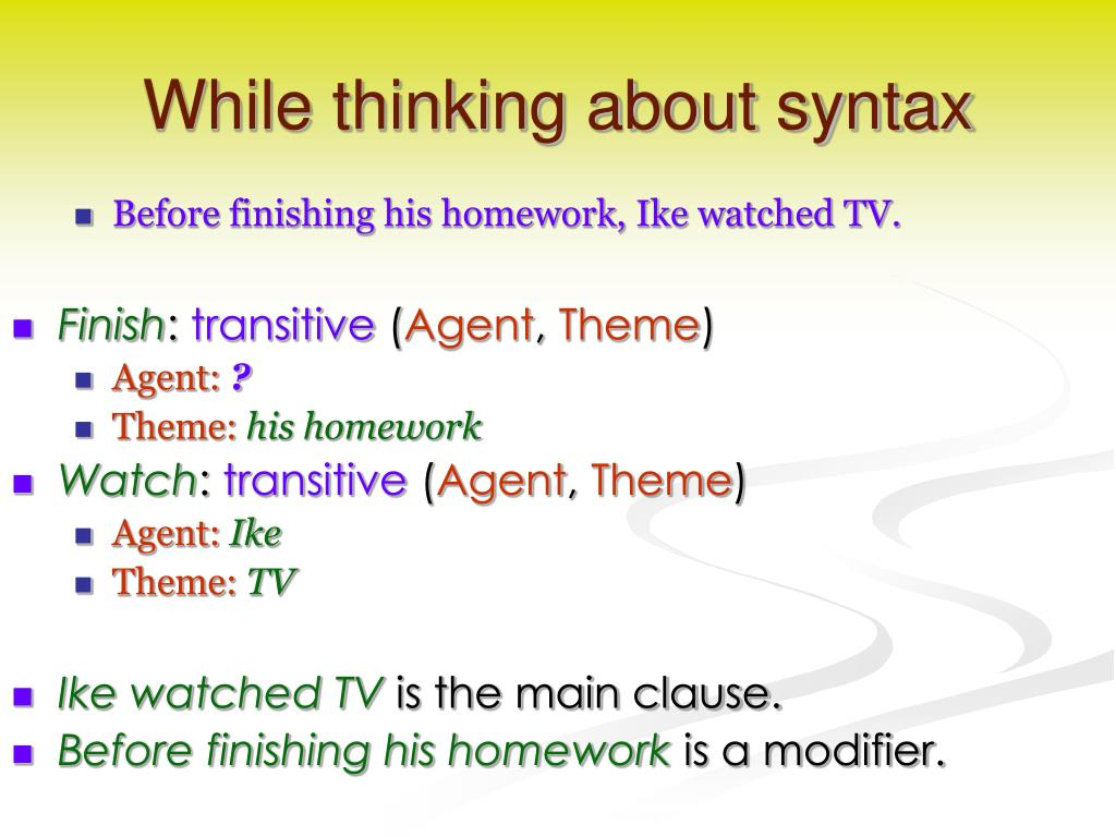 While thinking about syntax