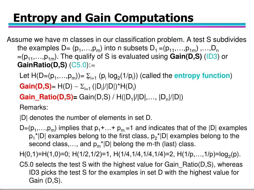 Entropy and Gain Computations