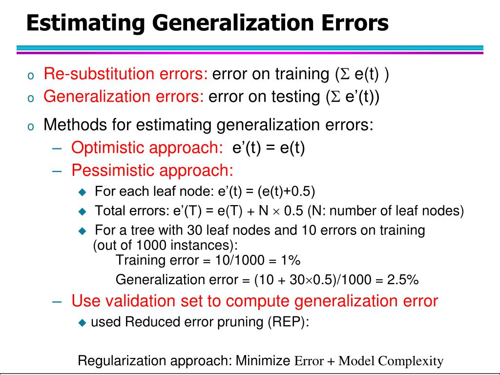 Estimating Generalization Errors