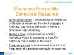 measuring personality behavioral measures