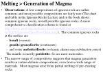 melting generation of magma