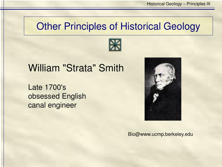 Other principles of historical geology