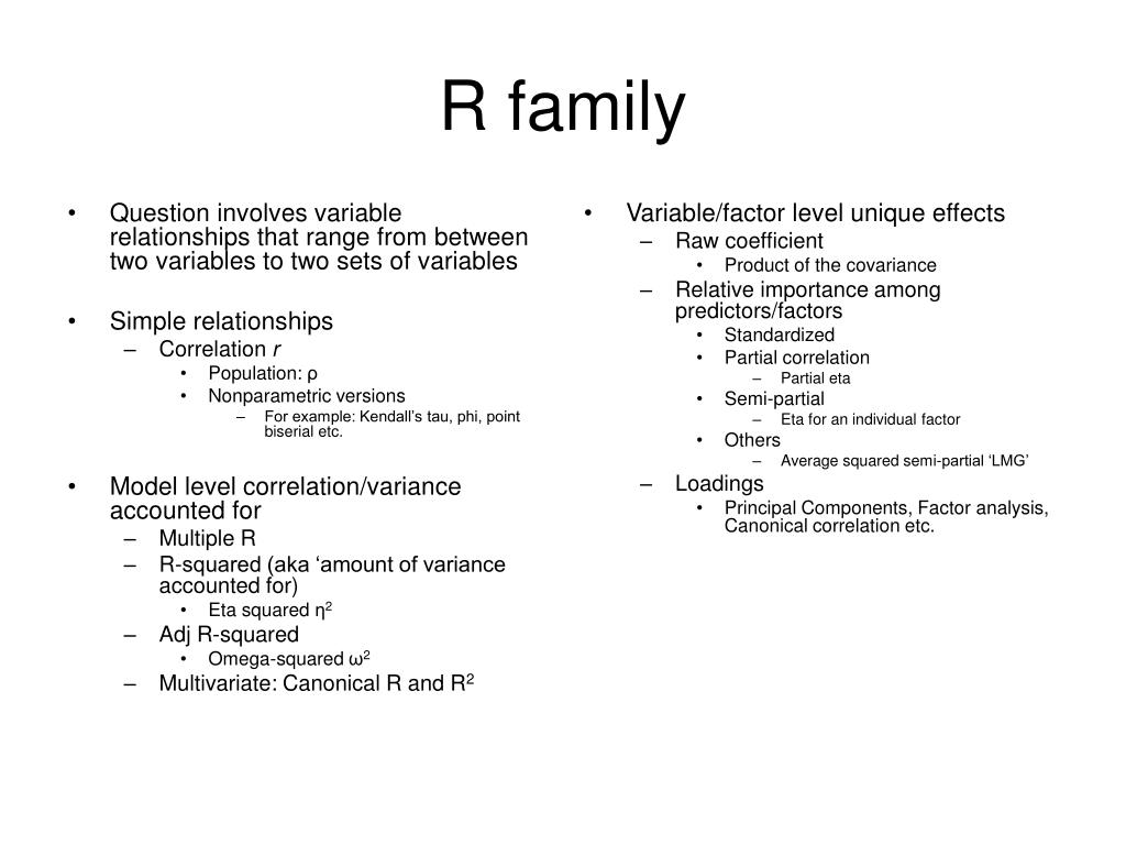 Question involves variable relationships that range from between two variables to two sets of variables