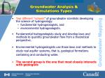 groundwater analysis simulations types