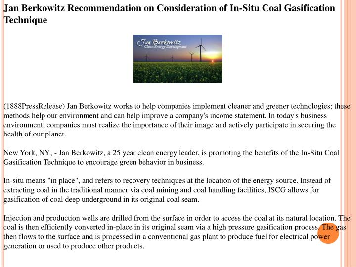 Jan Berkowitz Recommendation on Consideration of In-Situ Coal Gasification Technique