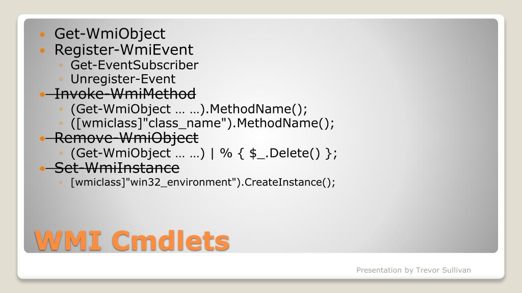 PPT - PowerShell and WMI PowerPoint Presentation - ID:772533