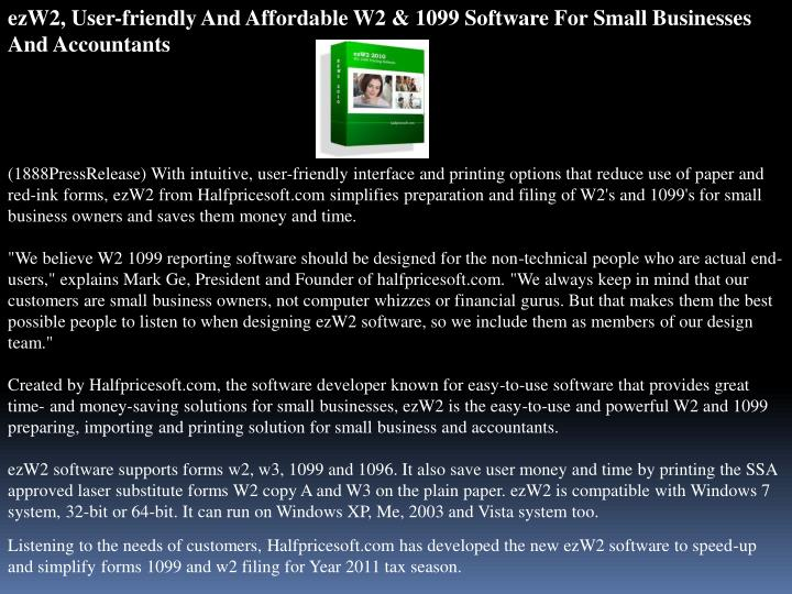 EzW2, User-friendly And Affordable W2 & 1099 Software For Small Businesses And Accountants