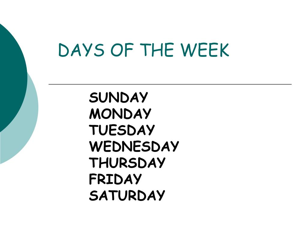 days of the week l.