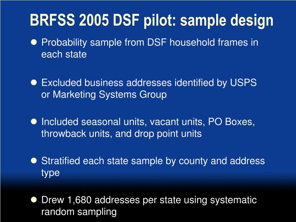 BRFSS 2005 DSF pilot: sample design