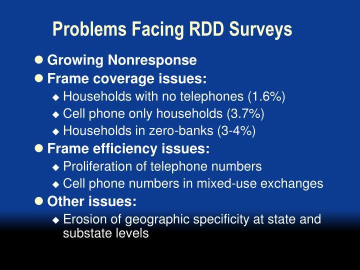 Problems facing rdd surveys