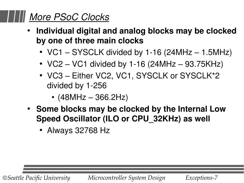 More PSoC Clocks