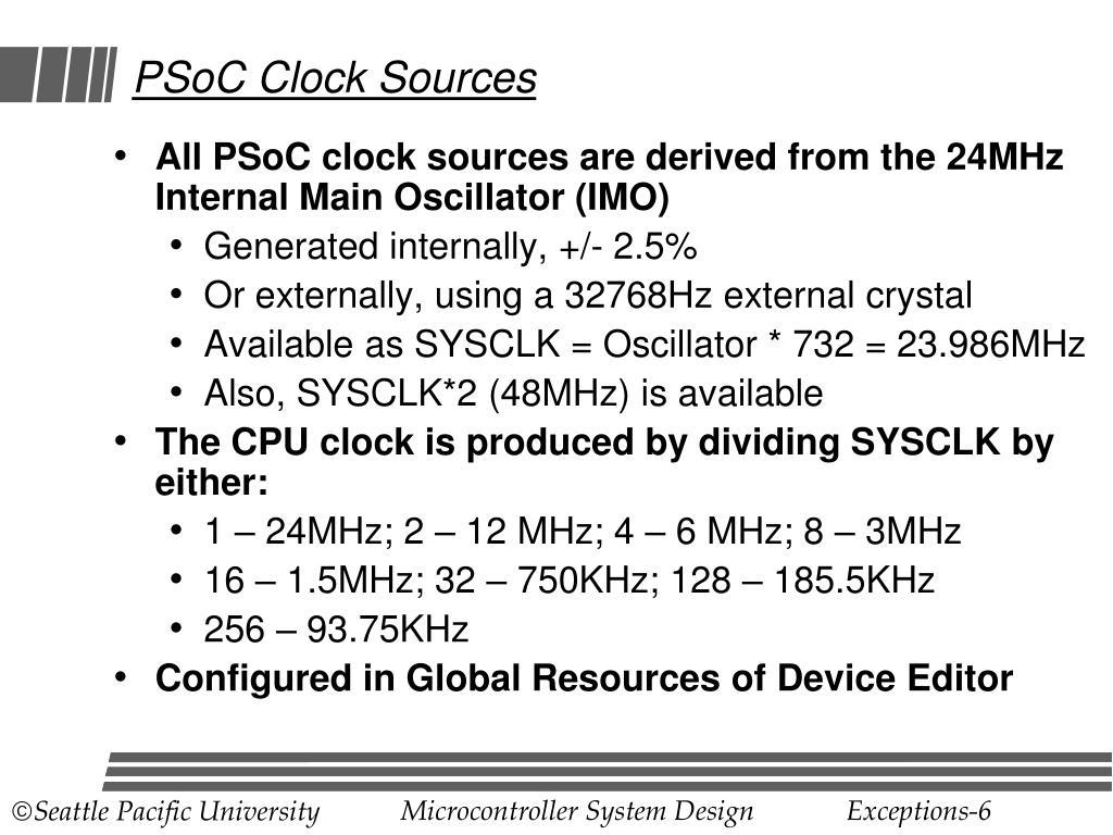 PSoC Clock Sources