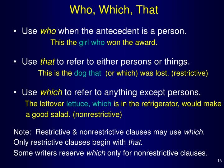 Who, Which, That