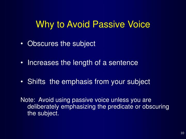 Why to Avoid Passive Voice