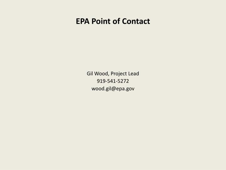 Epa point of contact