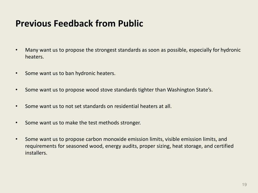 Previous Feedback from Public