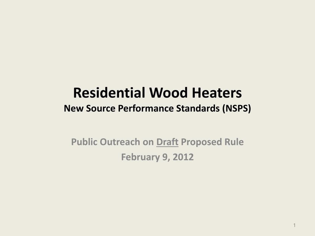 Residential Wood Heaters