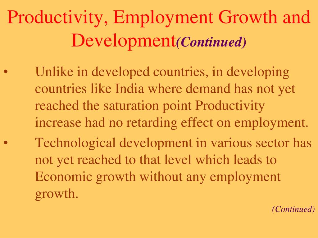 Productivity, Employment Growth and Development