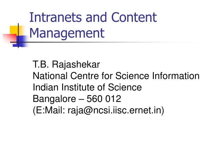intranets and content management n.