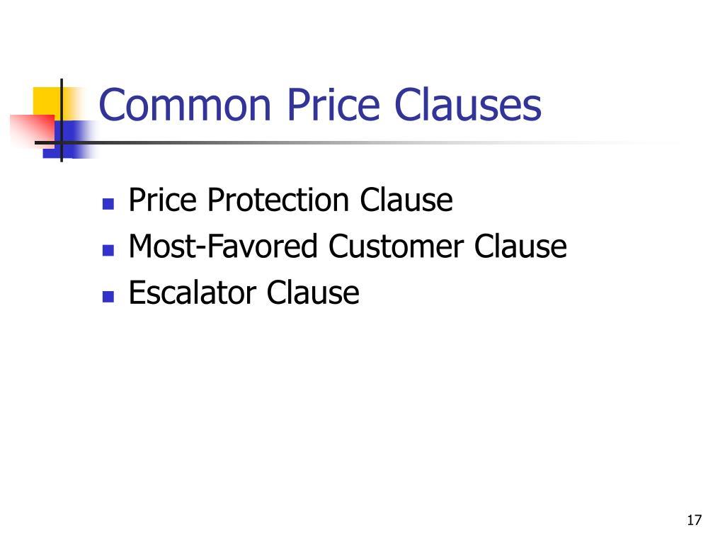 Common Price Clauses