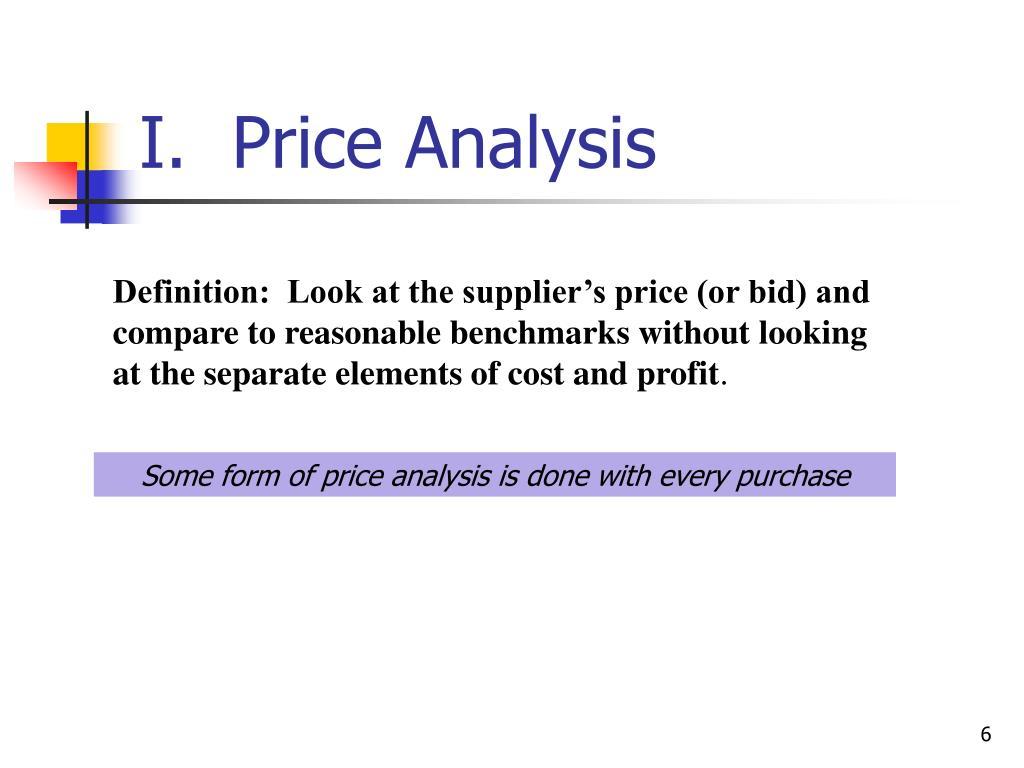 I.  Price Analysis