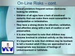on line risks cont
