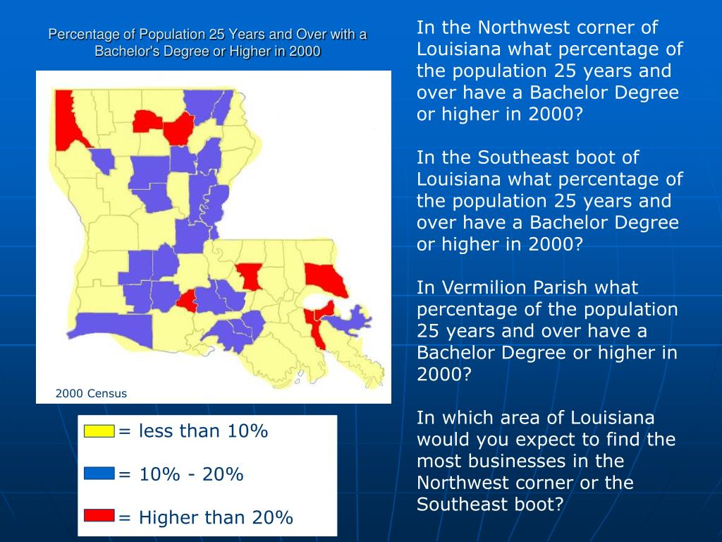 In the Northwest corner of Louisiana what percentage of the population 25 years and over have a Bachelor Degree or higher in 2000?