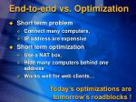 end to end vs optimization