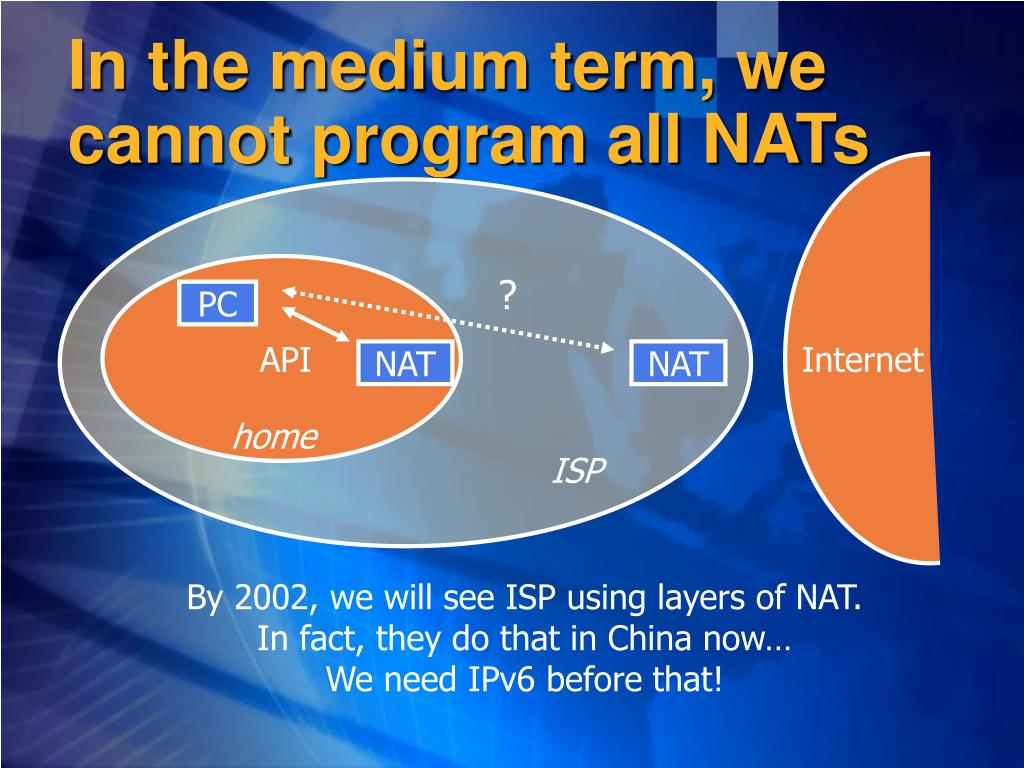 In the medium term, we cannot program all NATs