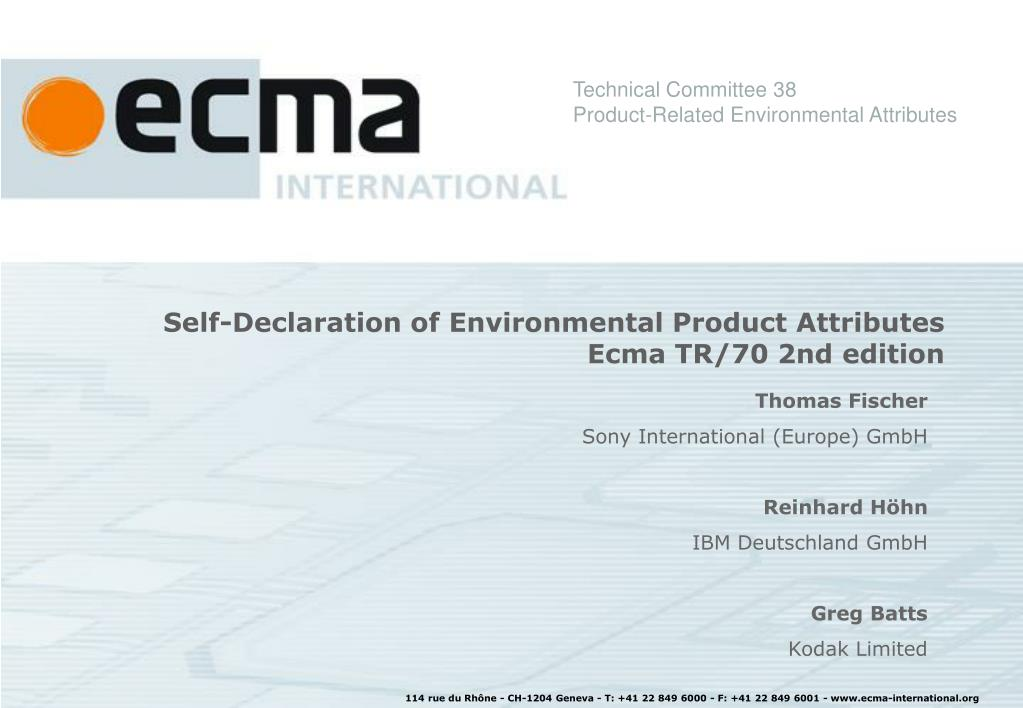 self declaration of environmental product attributes ecma tr 70 2nd edition l.