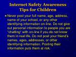 internet safety awareness tips for children