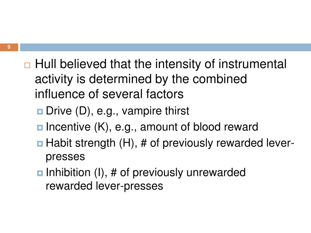 Hull believed that the intensity of instrumental activity is determined by the combined influence of several factors