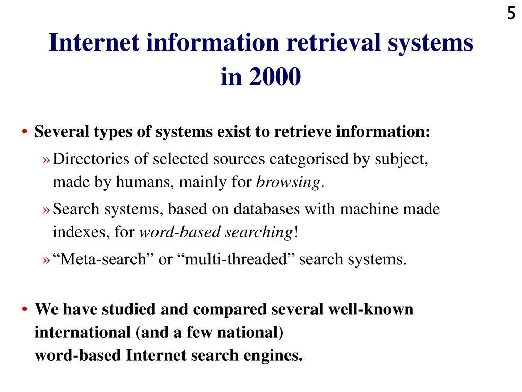 Internet information retrieval systems