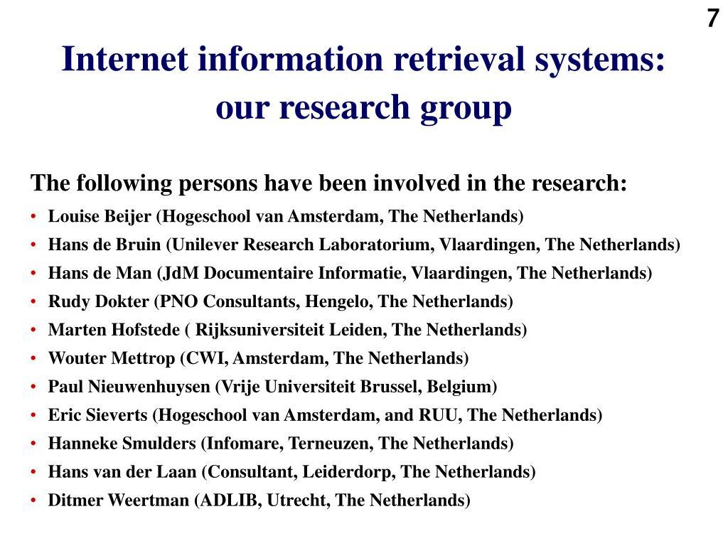 Internet information retrieval systems: