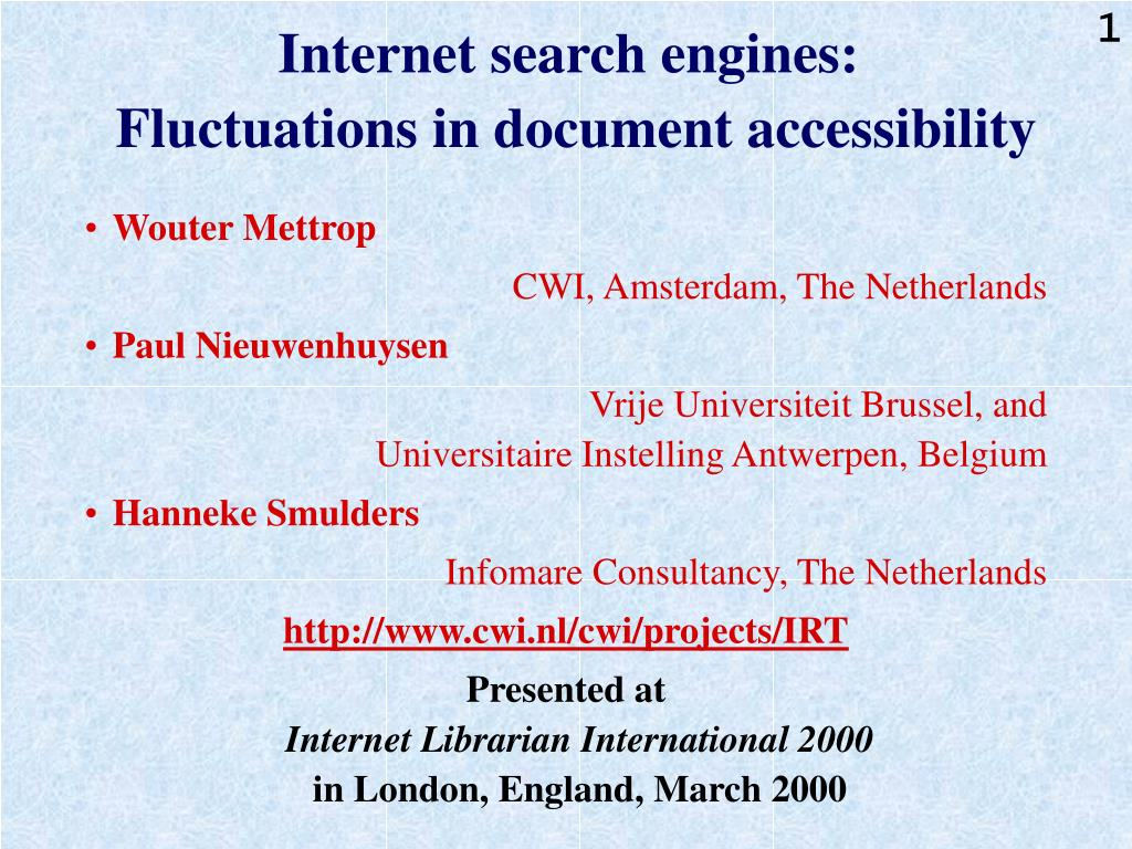 internet search engines fluctuations in document accessibility l.
