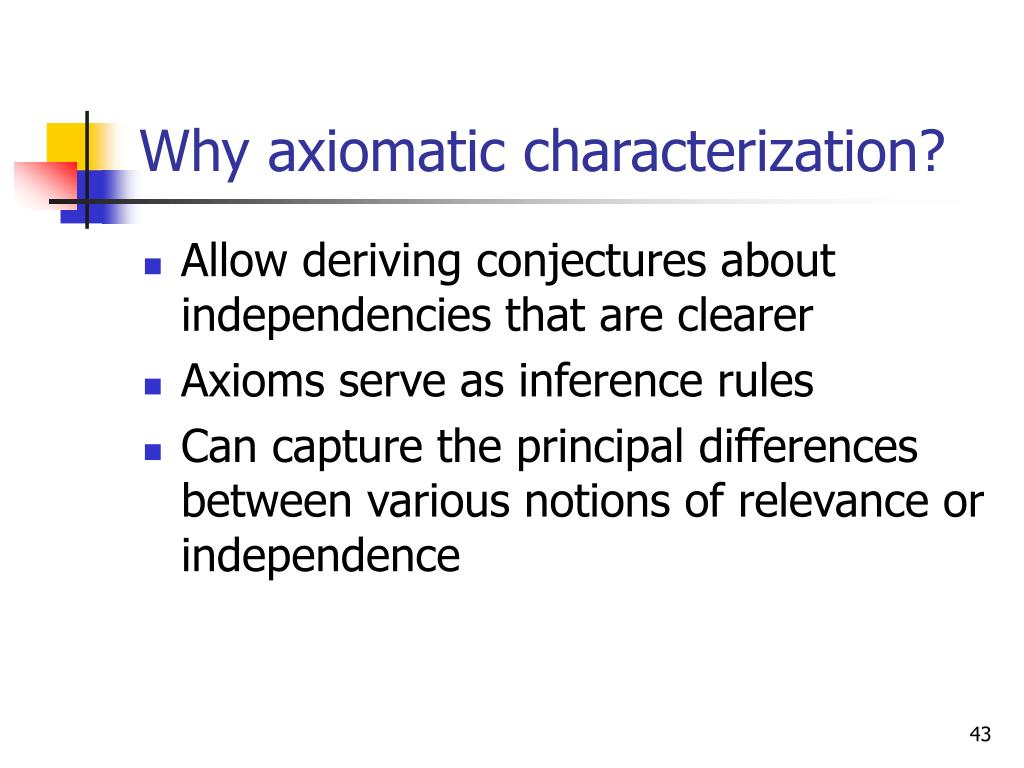 Why axiomatic characterization?