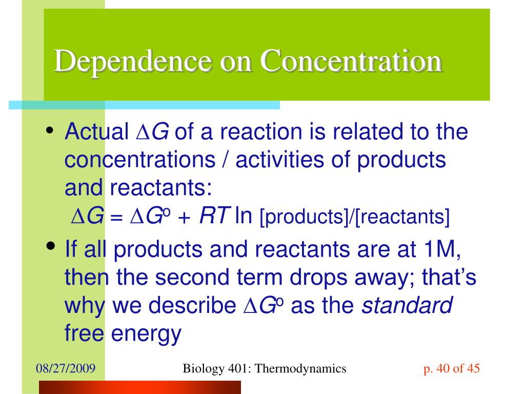 Dependence on Concentration