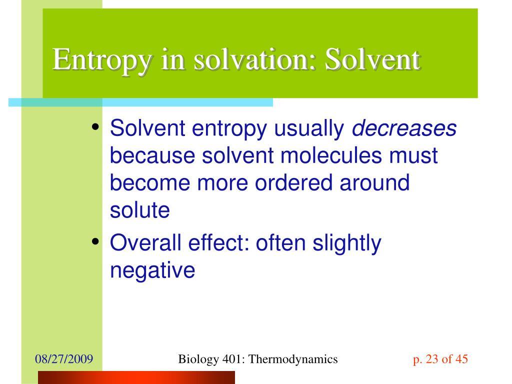 Entropy in solvation: Solvent
